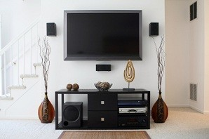 Mounted TV and speakers